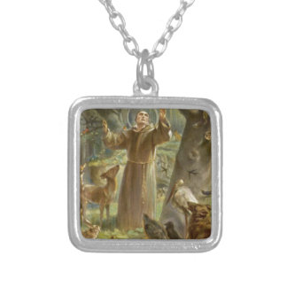 St. Francis of Assisi Preaching to the Animals Silver Plated Necklace