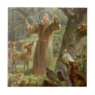 St. Francis of Assisi Preaching to the Animals Small Square Tile