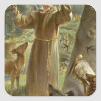 St. Francis of Assisi Preaching to the Animals Square Sticker