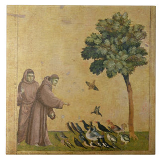 St. Francis of Assisi preaching to the birds Ceramic Tile