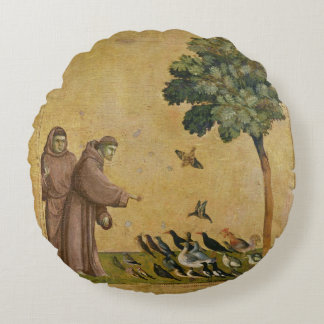 St. Francis of Assisi preaching to the birds Round Cushion