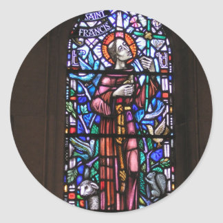 St Francis of Assisi stained glass Classic Round Sticker