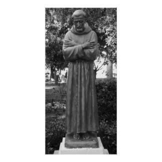 St Francis Of Assisi Statue Black And White Photo Poster