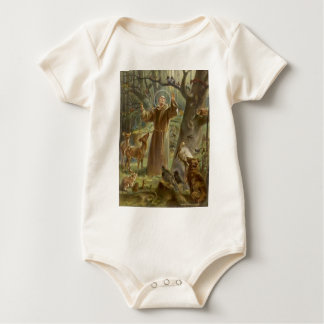 St. Francis of Assisi Surrounded by Animals Baby Bodysuit