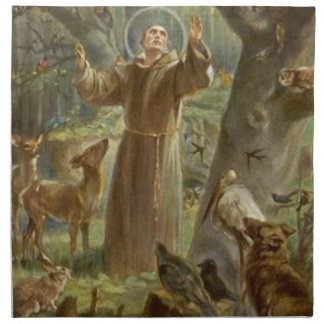 St. Francis of Assisi Surrounded by Animals Napkin