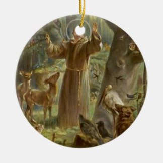 St. Francis of Assisi Surrounded by Animals Round Ceramic Decoration