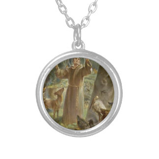 St. Francis of Assisi Surrounded by Animals Silver Plated Necklace