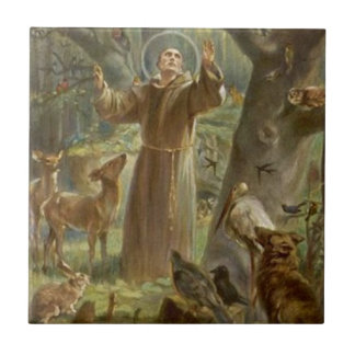 St. Francis of Assisi Surrounded by Animals Small Square Tile