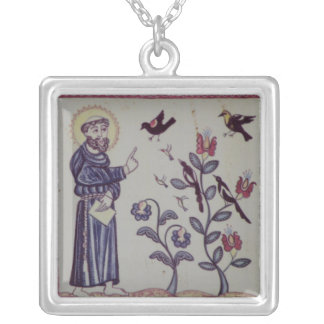 St Francis of Assisi with bird Square Pendant Necklace