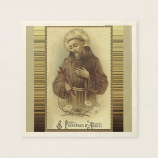 St. Francis of Assisi with Crucifix Lilies Paper Serviettes