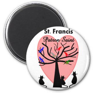 St Francis Patron Saint--Unique Tree and Animals Magnet