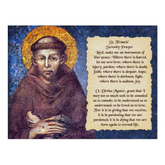 St Francis' Serenity Prayer Postcard