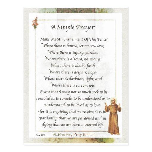 st. francis simple prayer postcards