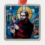 St Francis Stained Glass Image with Dove Christmas Ornaments