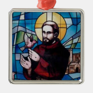 St Francis Stained Glass Image with Dove Metal Ornament