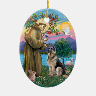 St Francis (W) - German Shepherd (C) Ceramic Ornament