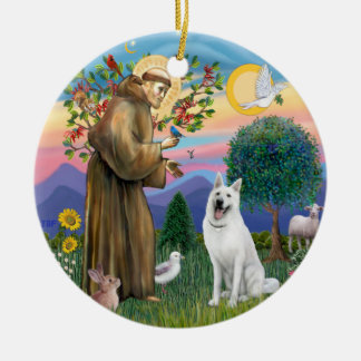 St Francis - White German Shepherd Ceramic Ornament