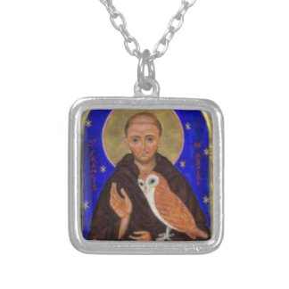 St. Francis with Owl Gift, Franciscan Gift Silver Plated Necklace