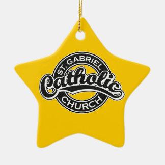 St. Gabriel Catholic Church Black and White Christmas Ornament