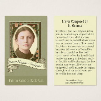 St. Gemma Galgani Saint of Back Pain Holy Card