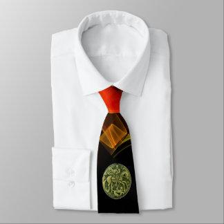 ST.GEORGE,DRAGON Red Orange Yellow Fractal Swirls Tie