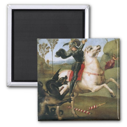 St. George Fighting Dragon Raphael Fine Art Magnet
