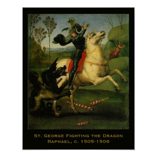 St. George Fighting the Dragon by Raphaell Poster