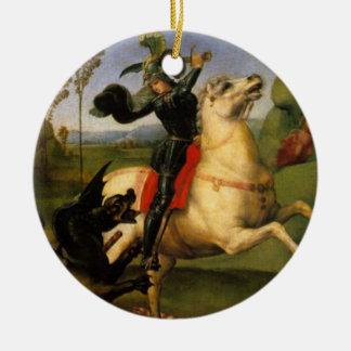 St. George Fights the Dragon Fine Art Round Ceramic Decoration
