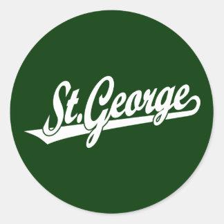 St. George script logo in white Classic Round Sticker