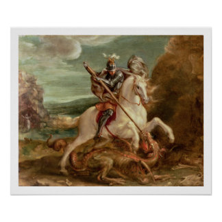 St George slaying the dragon oil on panel Print
