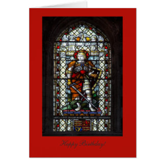 St George stained glass window - Happy Birthday Card