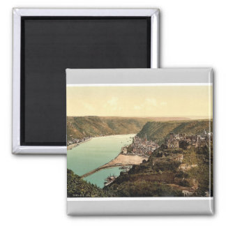 St. Goar, the Rhine, Germany rare Photochrom Square Magnet