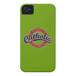 St. Gobnait's Catholic Church Blue on Red iPhone 4 Covers