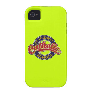 St. Hedwig Catholic School Red on Blue Case-Mate iPhone 4 Case