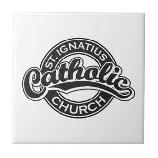 St. Ignatius Catholic Church Black and White Small Square Tile