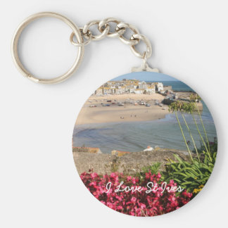 St Ives Harbour Pink Flowers Key Ring