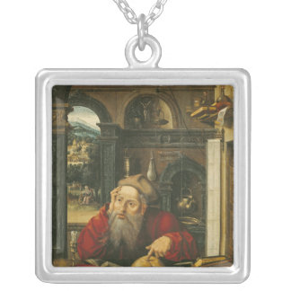 St. Jerome in his Study Silver Plated Necklace