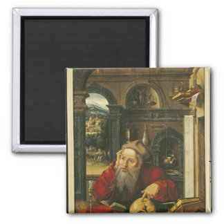 St. Jerome in his Study Square Magnet