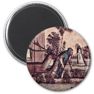 St. Jerome With The Lion In The Monastery Detail 6 Cm Round Magnet