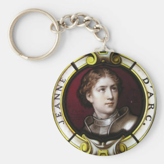 St. Joan of Arc Basic Round Button Key Ring