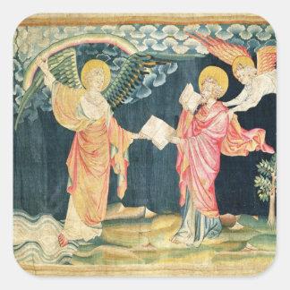 St. John Eating the Book Square Sticker