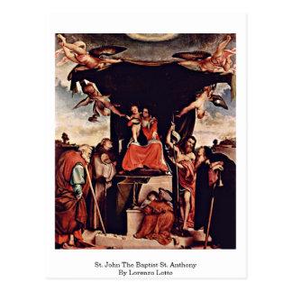 St. John The Baptist St. Anthony By Lorenzo Lotto Postcard