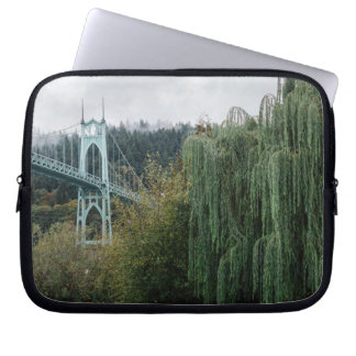 St. John's Bridge from Cathedral Park Laptop Sleeve