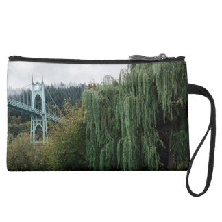 St. John's Bridge from Cathedral Park Suede Wristlet