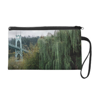 St. John's Bridge from Cathedral Park Wristlet Clutch