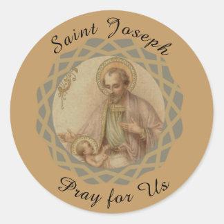 St. Joseph, Baby Jesus in a Manger Classic Round Sticker