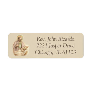 St. Joseph Baby Jesus in Manger Return Address Label