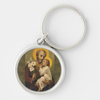 St. Joseph Baby Jesus Lily Silver-Colored Round Key Ring
