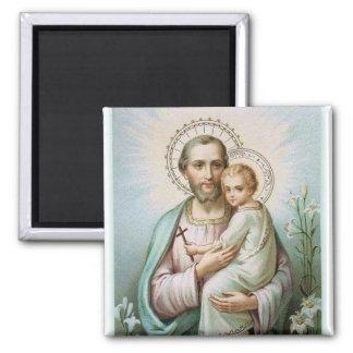 St. Joseph Baby Jesus  Lily Square Magnet