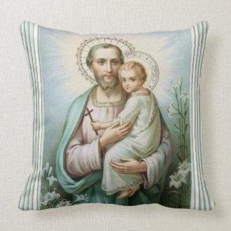 St. Joseph Baby Jesus Lily Throw Pillow